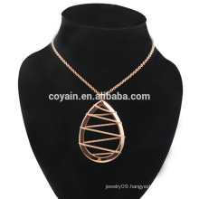 Stainless Steel Rose Gold Waterdrop Earrings & Necklace Jewelry Set