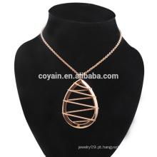 Aço Inoxidável Rose Gold Waterdrop brincos e conjunto de jóias colar
