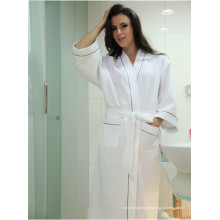 Хлопковая вафельная ткань Халат для халата Халаты для женщин Long Bath Robe Pajamas (WSB-2016029)