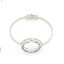 Fancy stainless steel open bracelet, 316l silver glass memory floating locket bracelet bangle