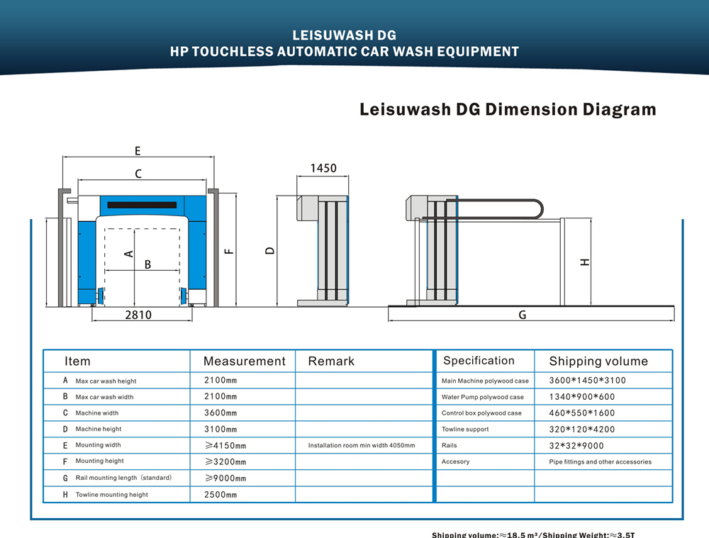 leisuwash DG install dimension