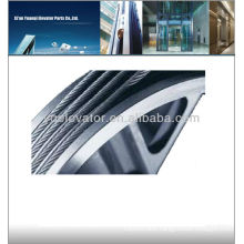 Elevator wire rope with fibre core