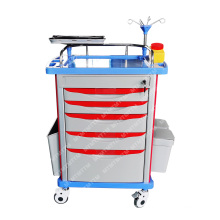 Nursing Patinet Hospital Furniture ABS Emergency Trolley with Drawer