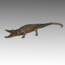 Tier Statue Krokodil / Alligator Bronze Skulptur Tpal-115