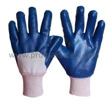 Jersey-Baumwoll-Liner Blauer Nitril-Tauchhandschuh mit Strickhandgelenk