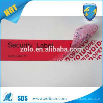 O fabricante fornece etiquetas personalizadas de segurança void adesivo / adesivos para máquina de embalagem de alimentos