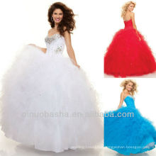 Red and WHITE Sweetheart Vestido de baile Sequin Sweep Train Bustle Skirt Vestido Quiceanera Vestido Pageant Sweet 16