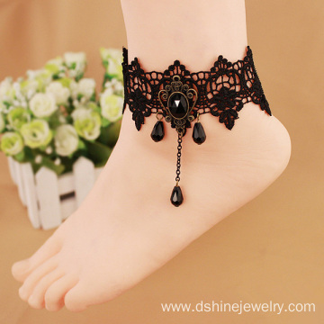 Gothic Black Lace Chain Bead Charms Lady Anklet Bracelet