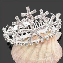 Venta al por mayor barrettes de pelo de la tiara de los accesorios del pelo cristalinos para la niña