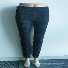Vente en gros 98% Coton 2% Spandex Dentelle Jeans Déchirés
