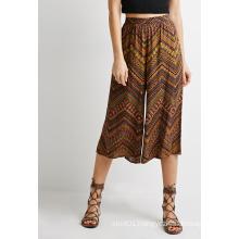 Abstract Chevron Print Wide-Leg Culottes Women Clothes