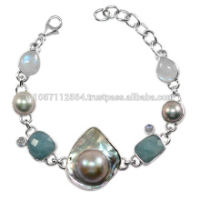 Antique Aquamarine Rainbow Moonstone & Blister Pearl Gemstone com pulseira em prata esterlina Jóias