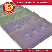 Colorful brilliant reflective embossed leather patch