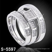 Nouvelle arrivée mode 925 bijoux en argent couple bague (S-5597)
