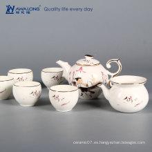 Blanco elegancia gild borde vajilla juego de té porcelana hueso china vajilla