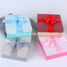 Качественные текстурированные бумажные подарочные коробки с ленточным бантом
