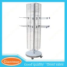 3 lados que giran el soporte del sostenedor del precio del metal calzan el estante de exhibición del alambre