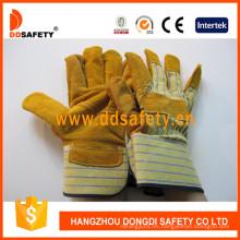 Guante de trabajo de Palm con parche de piel de vaca amarilla Dlc202