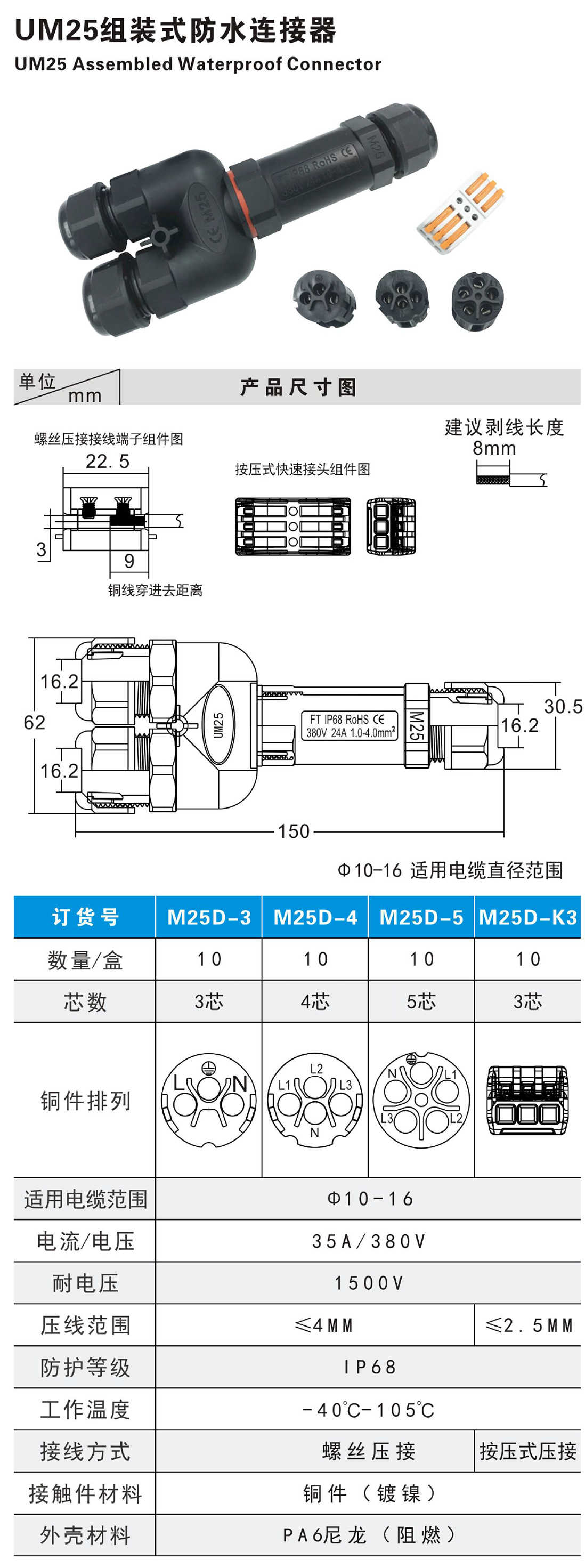 UM25D Assembled Waterproof Connector Parameters