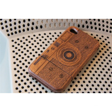 Brown Camera Wooden Stand Mobile Cover