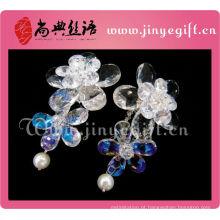 Mais recentes acessórios de senhoras limpar flor de cristal grandes brincos de noiva elegante