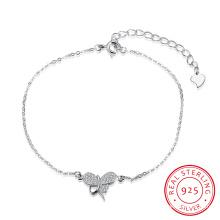Romantisches 925 Sterling Stahl Armband mit Schmetterling Form Anhänger Zirkon Inset Schmuck