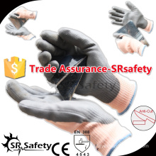 SRSAFETY 13G Knitted Cut Resistant Hand Glove With PU Palm Coating gloves for winter