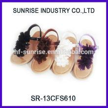 SR-13CFS610 2014 Fashion Girl flower sandal new plain girls flower flat sandals summer colorful flower flat cute girl sandals