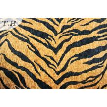 Tela de chenilla de microfibra estampada de tigre (fth31892)