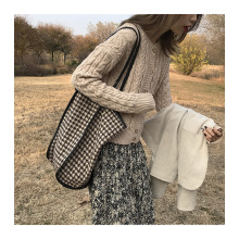 Wholesale Low MOQ Ins Fashion Lady Woolen Cloth Tote Bags One-shoulder Bag for Girls