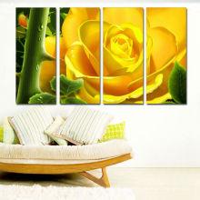 Vollfarbdruck Leinwand / Blumen Bilder Drucke auf Leinwand Kunst / Gelbe Rose Flora Leinwand drucken