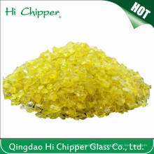 Chips de vidrio amarillo triturado