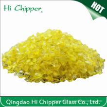 Chips en verre jaune écrasé