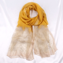 New Arrival Fashion Women Solid Color Silk Wool Scarf High Quality Floral Embroidered Scarves