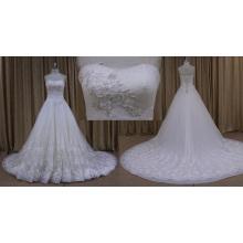 Princesa Beading Motivo Lace A linha de vestido de noiva