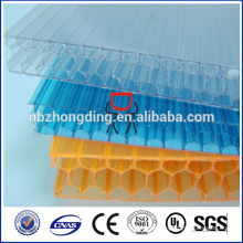 uv bloque de nido de abeja hoja de policarbonato / hoja de policarbonato celular