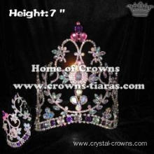 7inch AB Crystal Pageant Crowns With Purple Pink Diamonds
