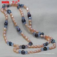 Joyería barroca rosada natural del collar de la perla de la manera al por mayor con el cristal