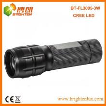 Factory Wholesale CE ROHS Aluminium Matériau Noir 3w cree Head Zoom réglable Zoom Led Lampe torche Fabriqué en Chine