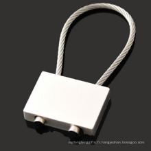 Porte-clés en alliage de zinc Rectangle Promotion avec corde à fil (F1344)