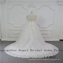 fuera de hombro con cuentas con encaje vestido de novia