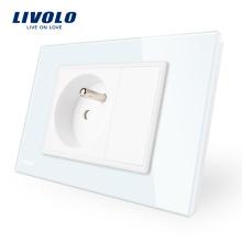 Livolo French Power Prise de courant murale pour panneau de verre en cristal blanc VL-C9C1FR-11/12
