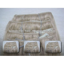 remy virgin Indian hair clip in hair extensions for white women