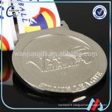 2016 hot soft enamel silver medal with ribbon drape