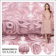 Oem high quality knitted mesh pink foam embroidery fabric for wedding