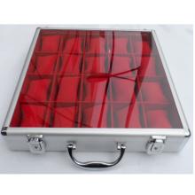 Caixa de relógio de alumínio com tampa superior transparente