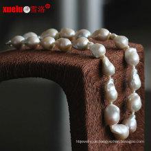 Art- und Weisequalitäts-großer kernhaltiger barocker natürlicher Perlen-Halsketten-Schmucksachen (E130086)