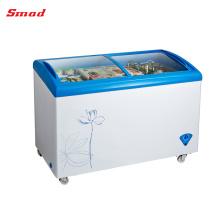 Congelador de tórax comercial com tampa de vidro para sorvete