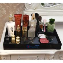 Black Acrylic Cosmetic Storage Display Tray Divided Organizer