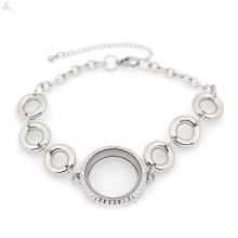 Прекрасный нержавеющей стали серебряный круг жизни медальон браслет